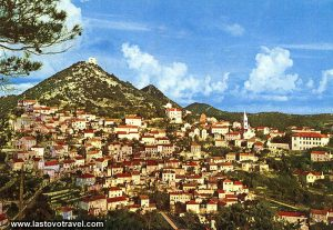 Panorama of Lastovo village from 1970s